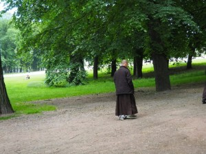 Monk walking mindfully