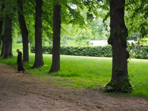 Monk walking mindfully through Slottsparken